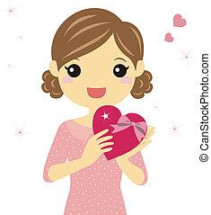 um, menina, com, valentine, coração