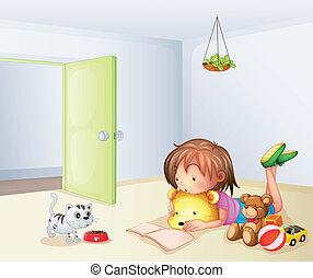 um, menina, dentro, um, sala, com, um, gato, e, brinquedos