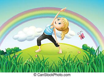 um, menina, esticar, auge, a, colina, com, um, arco íris