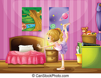 um, menina jovem, exercitar, em, dela, sala