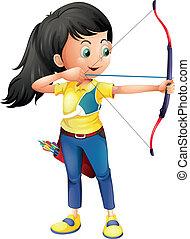 um, menina jovem, tocando, tiro com arco