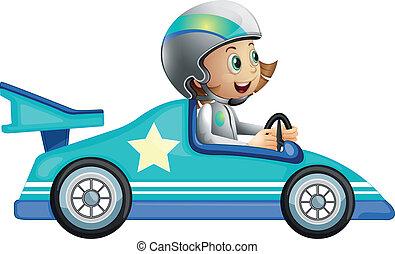 um, menina num carro, correndo, competição
