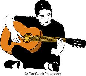 um, menina, tocando, ligado, um, guitarra acústica