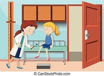 um, menina, verificação, com, doutor