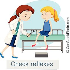 um, menina, verificar, reflexos, com, doutor