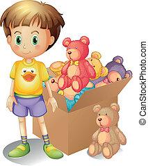 um, menino, ao lado, um, caixa, de, brinquedos