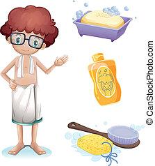 um, menino, com, um, sabonetes, shampoo, escova, e, esponja