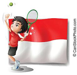 um, menino, jogando tênis, frente, a, bandeira, de, cingapura