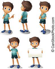 um, menino jovem, em, diferente, posições