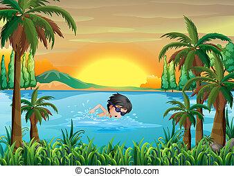 um, menino, natação, em, a, lago
