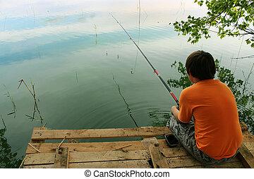 um, menino, peixes, a, isca, ligado, a, lake.