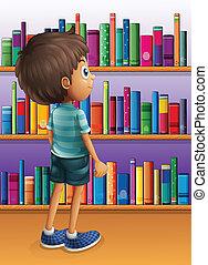 um, menino, procurar, um, livro, em, a, biblioteca