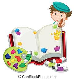 um, menino, quadro, um, livro