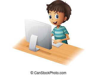 um, menino, tocando, computador