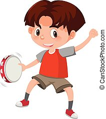 um, menino, tocando, tambourine