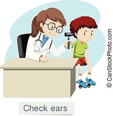 um, menino, verificar, orelhas, com, doutor