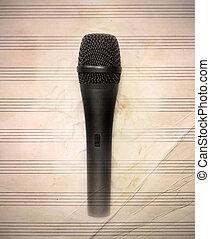 um, microfone, ligado, vindima, folha música