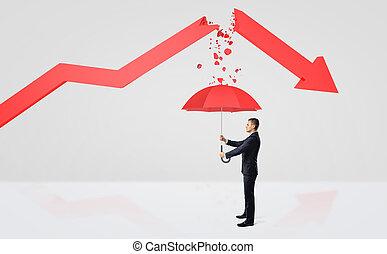 um, minúsculo, homem negócios, escondendo, sob, um, guarda-chuva vermelho, de, a, rubble, de, um, quebrada, vermelho, estatística, arrow.