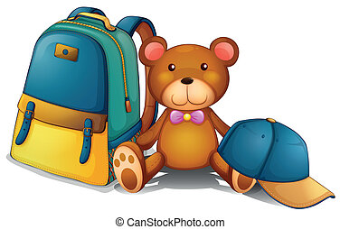 um, mochila, um, urso, e, um, boné beisebol