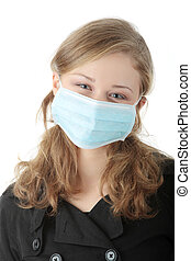 um, modelo, desgastando uma máscara, prevenir, \'swine,...