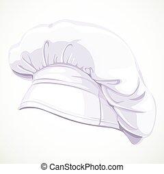 um, modernos, branca, chapéu cozinheiro