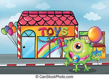 um, monstro, frente, a, brinquedo, loja