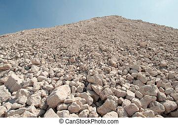 um, montículo, de, rubble