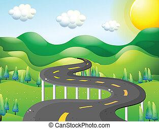 um, muito, estrada estreita