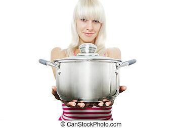 um, mulher, dá, tu, um, casserole