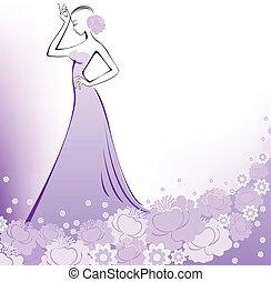 um, mulher, em, um, lavanda, vestido