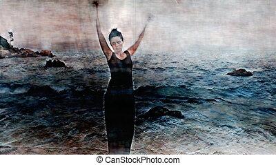 um, mulher, faz, um, fogo, desempenho, praia