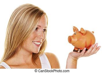um, mulher jovem, economiza, dinheiro, e, moedas, para, a, future., cuidado, e, save.