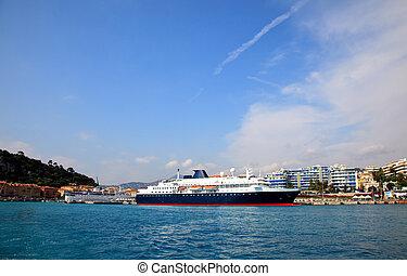 um, navio cruzeiro, em, porto, cidade, de, agradável