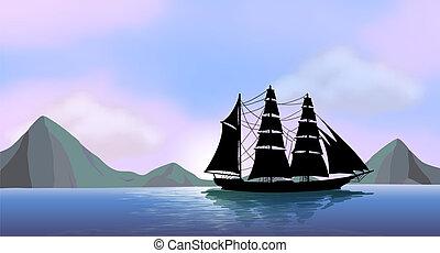 um, navio, velejando