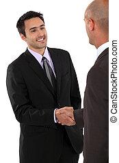 um, negócio, aperto mão