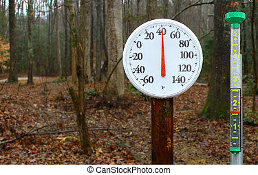 um, novo, ao ar livre, primavera, termômetro, ligado, um,...