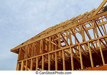 um, novo, vara, construído, lar, construção