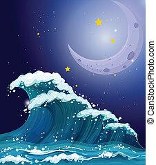 um, onda grande, sob, a, cintilante, estrelas, e, um, luminoso, lua