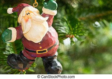 um, ornamento natal, penduradas, de, a, árvore.