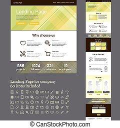 um, página, web site, para, companhia