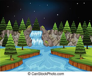 um, paisagem rio, à noite