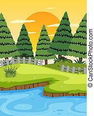 um, paisagem rio, em, pôr do sol