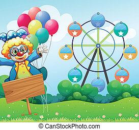 um, palhaço, com, balões, e, a, vazio, signage