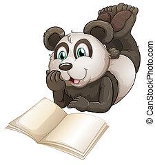 um, panda, com, um, vazio, livro