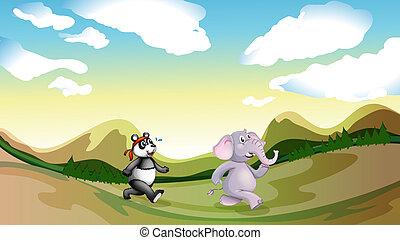 um, panda, e, um, elefante, caminhando, a, montanhas
