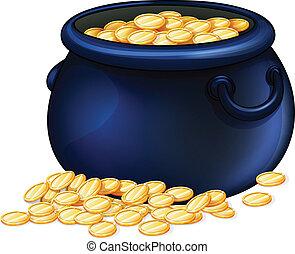 um, panela ouro, moedas