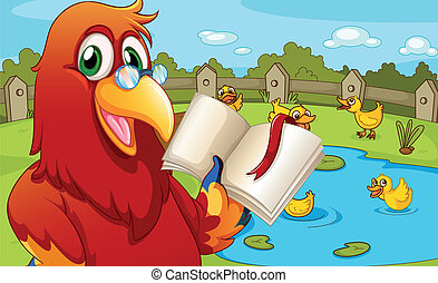 um, papagaio, perto, a, lagoa, mostrando, um, vazio, livro