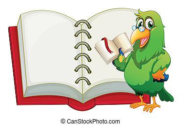 um, papagaio, segurando, um, vazio, livro, com, um, marcador