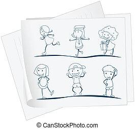 um papel, com, um desenho, de, crianças brincalhõnas