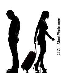 um, par, homem mulher, disputa, separação
